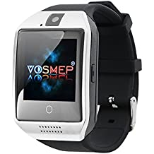 VOSMEP Smart Watch Apro Watch Phone Orologio Cellulare Telefonico supporto Facebook Whatsapp con Bluetooth 3.0 con Built-in 8G di Memoria Bracciale Intelligente Sport Bracelet con Camera Touch Screen per Android Samsung HTC Xiaomi LG Huawei SIM Smartphones (Argento) SM5