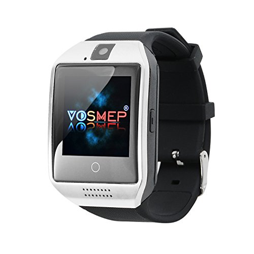 VOSMEP Smart Watch Apro Watch Phone Orologio Cellulare Telefonico supporto Facebook Whatsapp con Bluetooth 3.0 con Built-in 8G di Memoria Bracciale Intelligente Sport Bracelet con Camera Touch Screen per Android Samsung HTC Xiaomi LG Huawei SIM Smartphones (Argento) SM5