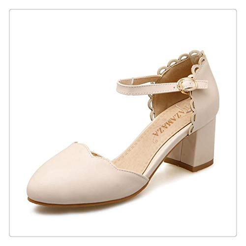 Size 32-43 Sweety Spring Shoes Women Thick High Heel Ruffles Sandals Women Ankle Strap Candy Color Dating Heels Shoes Beige 6 (Lyrics Pe)