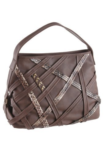 TAMARIS SARA Damen Handtasche, Henkeltasche, Hobo Bag, 3 Farben: schwarz comb., mocca braun comb. oder schwarz uni, Farbe:mocca comb (Hobo-schleife)