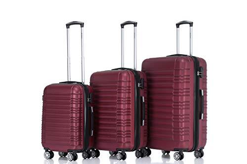 BEIBYE 2088 Zwillingsrollen Reisekoffer Koffer Trolleys Hartschale M-L-XL-Set (Weinrot, Set)