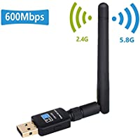 Adaptateur USB Wi-Fi Double Bande, Usmain Récepteur WLAN 600Mbit/s, 11AC USB Sans Fil Dongle avec 2.4G+5G, Clé WiFi 802.11n/g/b/a/ac Antenna Network pour Windows 10/8.1/8/7/XP, Linux et Mac OS