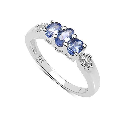 Die Tansanit-Ring-Kollektion: Kleiner Sterling Silber Tansanit 3 Stein Verlobungsring Weiß Topas Schultern Muttertag Geschenk.Ringgröße 58 (Tansanit Ring Sterling Silber)