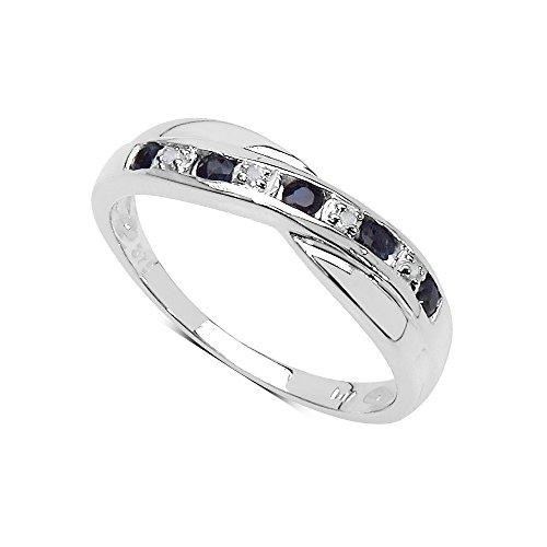 Die Sapphire Collection: 9CT White Gold Saphir und überqueren Ewigkeit Ring-Set Diamanten, Ringgröße 48