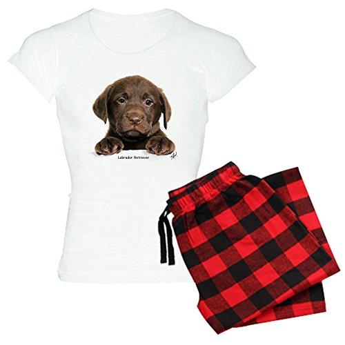CafePress-Schokolade Labrador Retriever-Damen Neuheit Baumwolle Pyjama Set, bequemen PJ Nachtwäsche Gr. Small, With Red Plaid Pant -