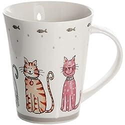 Taza mug de cerámica Porcelana para café té, Tazas Desayuno Originales Grandes Decorativas diseño de Gato Regalo para Gato y Amante de los Animales Cat Design Mug Gift for Animal Lovers