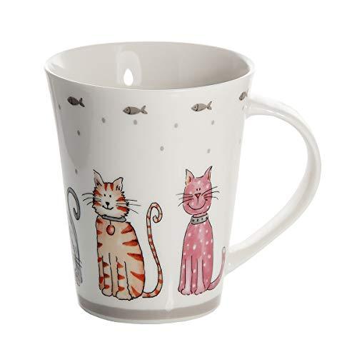 Taza de Desayuno Originales de café té con decoración de Lindo Gatos, Color Blanco para microondas, Regalo para los Amantes de los Animales de Gato Cat Design Mug Cup Gift Animal Lovers