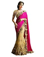 Surat Tex Pink & Cream Color Lycra & Net Embroidered Party Wear Saree with Blouse Piece-I481SECN7-TS_1