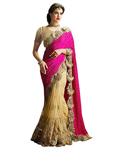 SURAT TEX Saree (Woman`s Clothing Saree For Woman Latest Desigen Wear Sarees Collection In Pink & Cream Color Lycra & Net Material Latest Sarees With Designer Blouse Free Size Beautiful Bollywood Sare