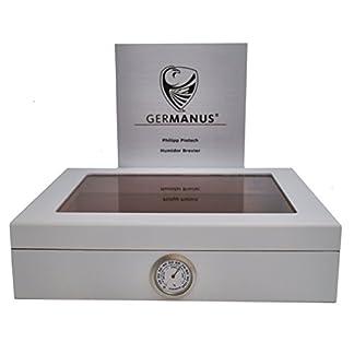 GERMANUS Humidor de Puros «Mensalla» con Higrómetro y Humidificador y el Manual Germanus Libro en Blanco
