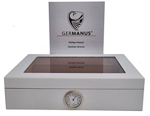 GERMANUS Zigarren Humidor Mensalla für ca. 30 Zigarren, Weiss