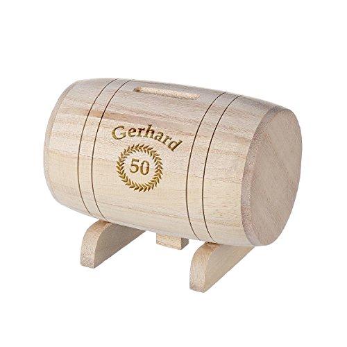 polar-effekt Spardose aus Holz - Sparbüchse Form Fass mit Gravur - Geschenk für jeden Anlass - Motiv Jubiläumskränzchen
