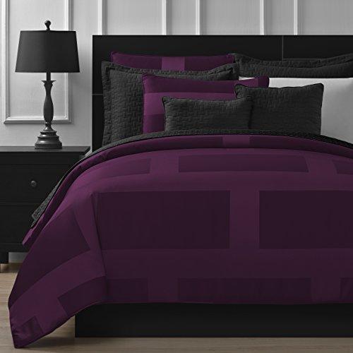 Comfy Bedding kuscheliges Betten Rahmen Jacquard Mikrofaser 5tlg Tröster Set, Polyester-Mischgewebe, Pflaume, Queen 5-Piece -