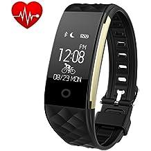 Pulsera Actividad,Monitor de Frecuencia Cardiáco, Pulsera Reloj Inteligente con Pulsómetro Impermeable IP67, Bluetooth 4.0, Podómetro, Notificación de SMS, Monitor de Ritmo Cardíaco,Monitor de Sueño, GPS, Control Remoto de Móvil Teléfono móvil hombre mujer niños(Azul) - iPosible