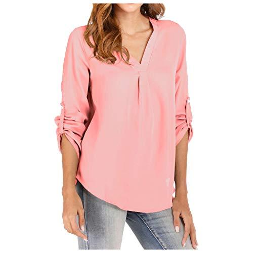 Sisifa Damen Bluse Hemd Oberteile Damen V Neck 3/4 Roll Sleeve Bluse Tops Damen Casual Büro Arbeit Mode Elegant T-Shirt Pullover (3/4 Hemd V-neck Sleeve)