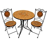 Marvell's Terracotta Rose Mosaic Bistro Set includes 74 x 70cm Table/ 89 x 37cm Chair (Set of 3)
