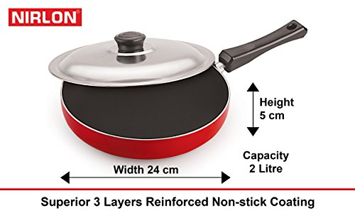 Nirlon Non-Stick Aluminium Cookware Set, 5-Pieces, Red (26FT12CTFP12KD13TP_2)