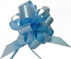 Idea Regalo - Confezione da 50 PZ coccarde azzurre autotiranti gran fiocco azzurro, nastro da 5 cm, per nascita bimbo