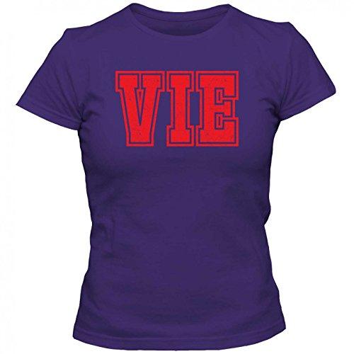 VIE Premium T-Shirt | Airport-Shirt | Wien | Reisen | Frauen | Shirt © Shirt Happenz Lila (Dark Purple L191)