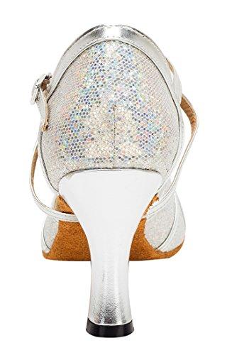 TDA - Strap alla caviglia donna 8cm Heel Glitter Silver