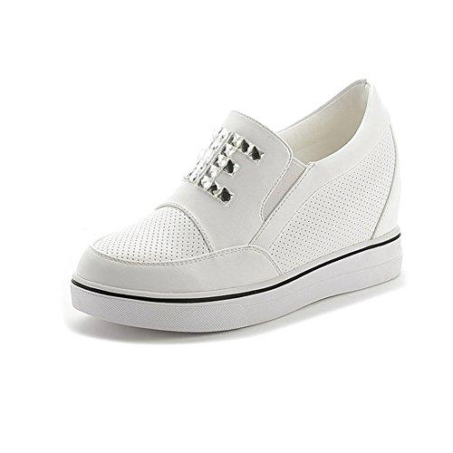 Damen Lässige Mesh Gitter Slip On Strass Dicke Sohle Innen Aufzug Keilabsatz Dicke Sohle Aufzug Sneakers Weiß