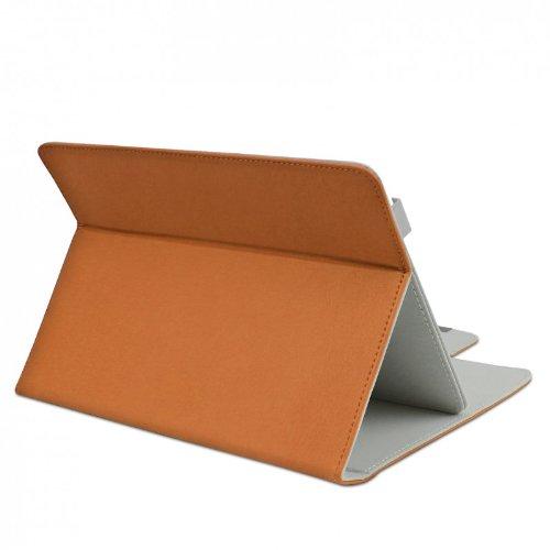ROYALZ Schutz Tasche für Alcatel 1T 7 Hülle Schutzhülle Case Cover Schutztasche Stand-Funktion Leder-Optik, Farbe:Braun
