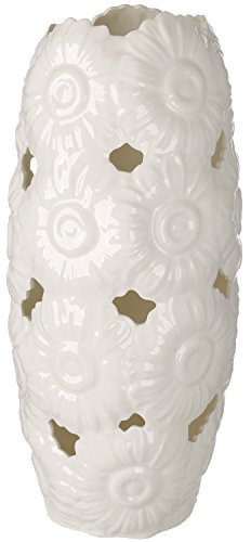 5th Avenue Collection Italian Bone China Vase with Embossed Magnolia Flowers by 5th Ave Store