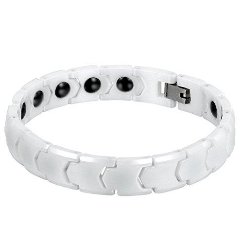 Cupimatch Herren Magnet Keramik Armband, 11mm breite Klassiker Poliert Link Handgelenk Magnetarmband Gesundheitsarmband Armreif, Weiss schwarz