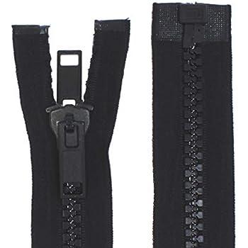 zipworld Rei/ßverschluss Kunststoff GROBE Z/ähne 8mm teilbare Rei/ßverschl/üsse schwarz - 322, 10 Meter