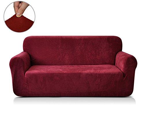 CHUN YI 1-Stück verdickte Stretchhusse für Sofa, mehrere Farben (2-Sitzer, Bordeauxrot)