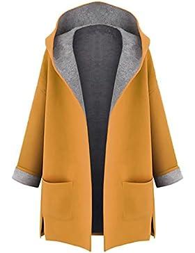 Minetom Mujer Otoño Invierno Suelto Abrigos con Capucha Moda Parka Trench Coat Elegante Bolsillos Chaquetas Tallas...