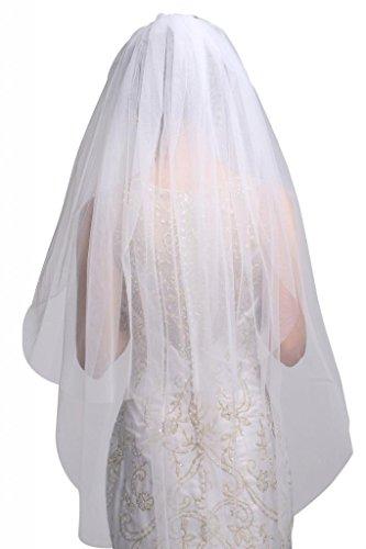 George Bride 2T simple et élégant long voile Blanc - blanc