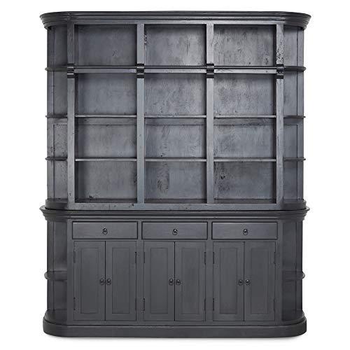 Homy Bücherwand Schwarz Holz Massiv Mango 6 Türen 3 Schübe 24 Fächer Bücherschrank - Giroux