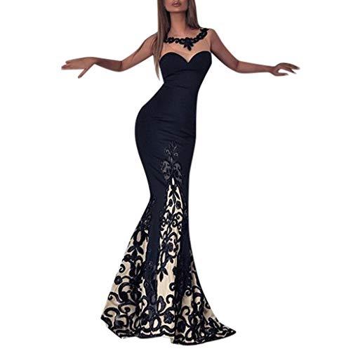 Sonojie Frauen-reizvolle Spitze-Sleeveless dünnes Kleid-Druck-Hohle Maxi Kleid-Party-Kleider