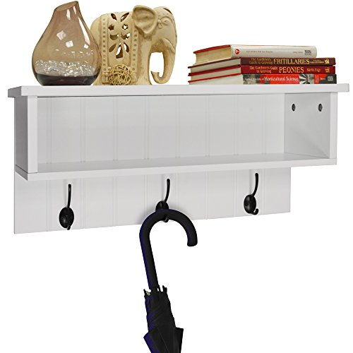 NEW ENGLAND   Wall Mounted Hall Rack With Storage And 3 Coat Hooks   White