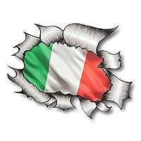 Sticar-it Ltd RIPPED TORN METAL Car Sticker Italian Italy Flag Vinyl decal Van Scooter Vespa Large 205x160mm approx.
