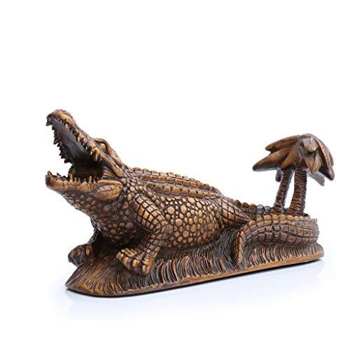 Krokodil-textur-basis (XWCPDM Weinregal Dekoration praktische Harz braun handbemalt Krokodil Weinregal Hause Weinregal Weinschrank Display 43,5x15x19cm Weinregal)
