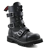 Angry Itch - 10-Hole Gothic Punk Black Leather Army 3-Buckle Ranger Boots with Zipper & steeltoe - UK Sizes 3-13- Made in EU!, EU-Größe:EU-38