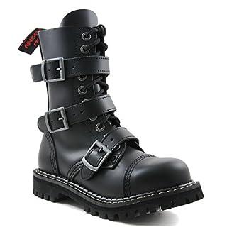 ANGRY ITCH - 10-Loch 3-Buckle Gothic Punk Army Ranger Leder Schwarz Schnallen Armee Stiefel mit RV & Stahlkappe 36-48 - Made in EU!, EU-Größe:EU-43