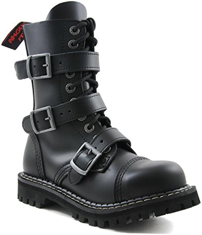 ANGRY ITCH 10 Loch 3 Buckle Gothic Punk Army Ranger Leder Schwarz Schnallen Armee Stiefel mit RV  StahlkappeANGRY ITCH 3 Buckle Schnallen Stahlkappe