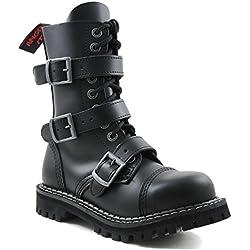 Angry Itch - 10-agujeros botas goticas punk de cuero nero con 5 hebillas y con ziper - Numéros 36-48 - Hecho in EU!, EU-Größe:EU-44