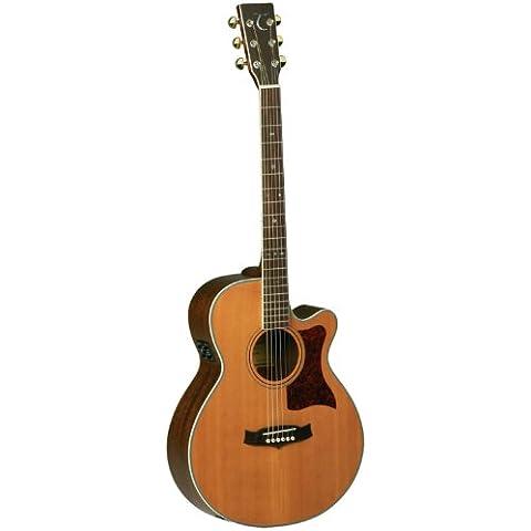 Tanglewood Super Folk Guitarra acústica con tapa de cedro macizo) y madera de caoba parte trasera y laterales, Natural acabado brillante (tw45-dlx-e)