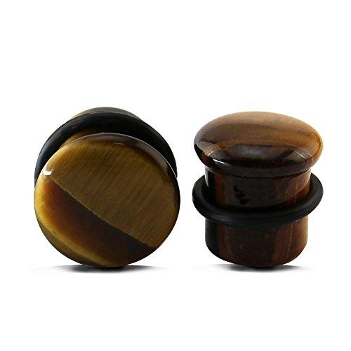 ZeSen Jewelry Tigerauge Naturstein 2-Ohr-Stecker-Einzelnen Aufflackern-Ohrstöpsel Expander mit O-Ringe-Körper-Piercing (2) Gauge = 0 g (8 mm) Braun