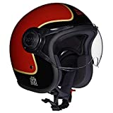 Royal Enfield HESS17020 Open Face Helmet with Visor (Gloss Red, Large)
