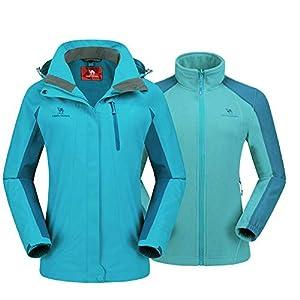 CAMEL CROWN Damen 3 in 1 Skijacke mit Fleece Jacke Wasserdicht Winddicht Warm Winterjacke Doppeljacke Outdoor Regenjacke…
