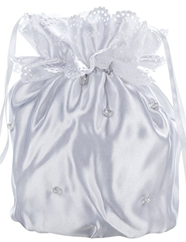 Princess Taufkleid Brautbeutel aus Satin in Weiß und Ivory Weiß