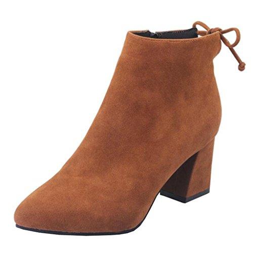 Mashiaoyi Donna Bowknot Punta-Toe Tacco a Blocco Zip Boots Marrone