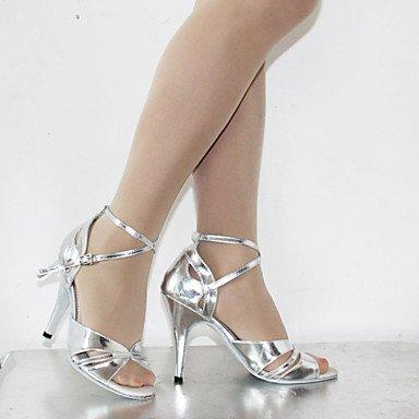 Silence @ pour femme Chaussures de danse latine en similicuir Stiletto Talon Argent/chocolat bronze