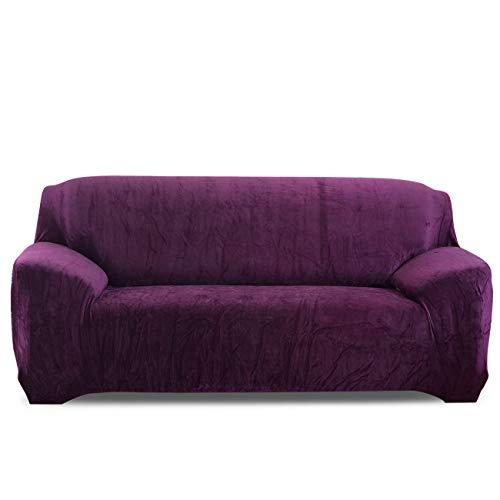 VanderHome Dicke Sofa Bezug Korallenvlies Sofabezüge Stretch Sofahusse Husse de Sofa Elastisch Sofaüberwurf Sessel bezug Sofaschutz 2-Sitzer, Lila