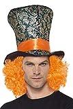 Smiffy's Smiffys Cappello a cilindro, Multicolore, con parrucca annessa per Adulti, Taglia Unica, 45216